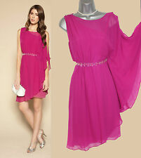 MONSOON Pink KORA Embellished Asymmetric Side Frill Detail Flatter Dress 10 £139