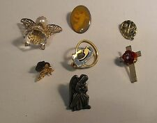 VINTAGE ASSORTED LOT 7 RELIGIOUS CHRISTIAN ANGELS AND CROSSES PINS AND BROOCHES