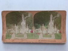 Stereo-view Stereoscopic Card: Kilburn: Our Loved Ones: Graveyard Coloured Tint