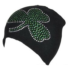 IRISH SHAMROCK RHINESTONE BEANIE HAT skull ski cap Ireland St Patricks Day