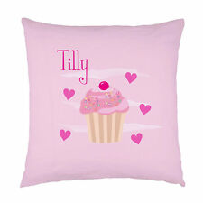 Personalised childrens cupcake name pink heart cushion