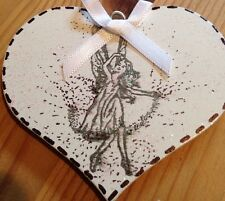 Fairy Hanging Decoration Shabby Chic Country White With Sparkle Heart
