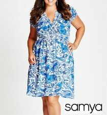 Plus Size Paisley Print With Elastic Waist Blue & MID DRESS Size 18 (Free Post)