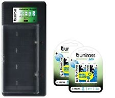 UNiROSS UNIVERSAL AA/AAA/C/D/PP3 BATTERY CHARGER+ 8 x AA (R6) 800 mAh BATTERIES