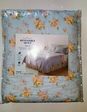 Home Classic Reversible Quilt Sarah Floral Blue Pink Yellow Twin 100 Cotton $100