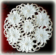 """Poinsettia Lace Doily  11"""" Christmas Holiday Flower Metallic Gold Cream Color"""