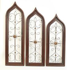 Set of 3 Rustic Architectural Wall Garden Window--Wood & Iron-Patio-RED