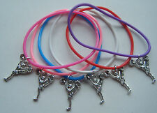 x6 CHEERLEADERS CHEERLEADING GUMMY BANDS CHARM BRACELETS PARTY BAG FILLERS GIFT