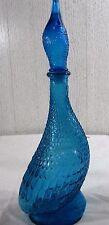 """Vtg Italy Goose Duck Hobnail Figural Glass Blue Liquor Decanter Bottle 16"""" RARE"""