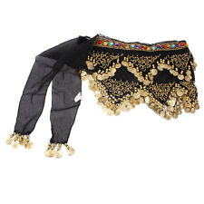 New 178 Gold Coins Bead Belly Dance Hip Scarf Belt Black Colors