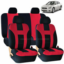 RED & BLACK DOUBLE STITCH SEAT COVERS & BENCH 8PC SET FOR NISSAN MURANO SENTRA