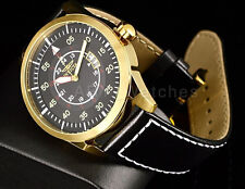 Invicta 19260 I-Force Military Dial 18kt Gold Tone Case Black Leather Watch New