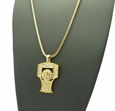 """Hip Hop Iced Out Micro BASKETBALL NET Pendant 2mm 24"""" Box Chain Necklace RC1397"""