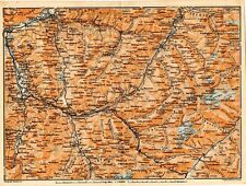 Carta geografica antica SVIZZERA Coira Samaden Old Map Switzerland Suisse 1905