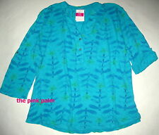 FRESH PRODUCE 1X Turquoise Blue Dragonfly Buttonside Henley Top $75 NWT New 1X