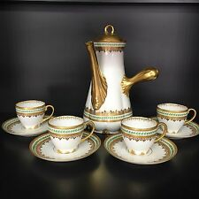 Demitasse Limoges Chocolate Pot 4 Cup & Saucers Raised Gold Trim GDA Mark France