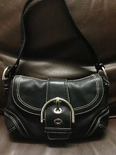 NO RESERVE Authentic Coach Leather Black Women's Mini HandBag Purse Shoulder Bag