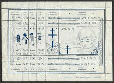 Esperanto Tuberculosis labels AVA 1974-5 - sheets of 20 differen perf & imperf