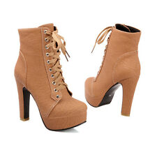 Fashion Spring Womens Platform Court Lace up Shoes Block High Heels Ankle Boots