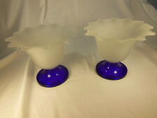 """Pair (2)  White Frosted Glass Candle Holders Cobalt Blue Base Ruffled Edge 6"""""""