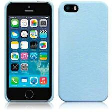 Baby Blue PU Leather Back Hard Case Cover for iPhone 5/5S/SE