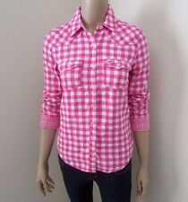 NWT Hollister Womens Plaid Shirt Size Small Button Down Top Blouse Pink & White