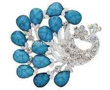 Designer Trendy Beautiful Blue Resin Peacock Crystal Fashion Wedding Pin Brooch