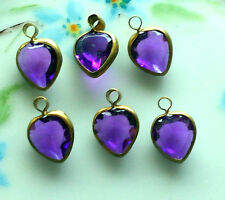 #679 Vintage Heart Charms Connectors Purple Hearts Old ONS Dangle Connector