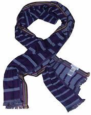 PAUL SMITH STRIPED PURPLE GREY LIGHTWEIGHT SILK / COTTON SCARF BNWT VERY RARE
