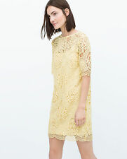 ZARA WOMAN LEMON YELLOW PASTEL LACE GUIPURE SHIFT DRESS M 10 12!