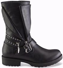 Bongo Women Shoe Size 7 Black Moto Boot Motorcycle Studs Zipper Buckle Boots New