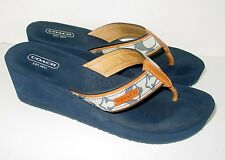 AUTH COACH JULIET Women's LOGO WEDGE Shoes/Sandals/THONGS/Sz 8.5/SPRING/AWESOME