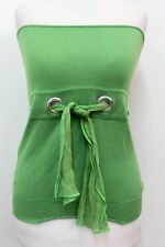 CHLOE Ladies Green Pure Cotton Strapless Bandeau Waist Belt Feature Top XS