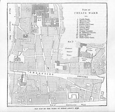 Map.Cheap Ward.City of London.1879.Old and New London.Antique print.Poultry