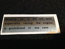 "SUZUKI GT750 GT550 GT380 GT250 RE5 GT185 GT125  CAUTION WARNING DECAL ""REVVIN UP"