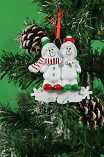 PERSONALISED CHRISTMAS TREE DECORATION ORNAMENT  SNOW SLED FAMILY 2