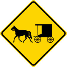 3M EGP Reflective HORSE DRAWN & VEHICLE BUGGY SYMBOL Road Street Sign 24 x 24