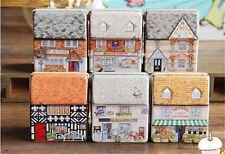 Mini dream Vintage House Tinplate Storage Tin Box Coin Bag Jewelry Creative Hot