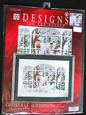 Designs for the Needle Treasures Counted Cross Stitch Kit Winter Window Snowman