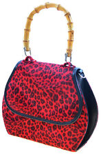 Küstenluder GWEN 40s Red LEOPARD Bamboo LEO Pin Up TASCHE  Rockabilly