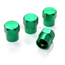 4 Green Aluminum Tire/Wheel Air Pressure Valve Stem CAPS for Auto-Car-Truck-Bike