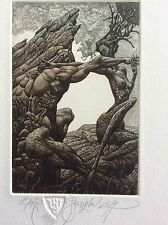 "JULIAN JORDANOV ,Etching , Ex Libris, ""Earth"" 2014 ,Limited Ed. 16/30"