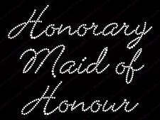 "Diamonte Hotfix Wedd Transfer Rhinestone iron On Motif ""Honorary Maid Of Honour"""