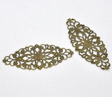 30 Bronze Tone Filigree Flower Wraps Connector Jewellery Making 8x3.5cm