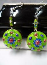 BEAUTIFUL Chinese Japanese Oriental Enamel Cloisonne Floral Bead Earring Green