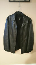 Used J. Crew Men's Heavy Leather Jacket Wool Lined Size Medium M