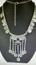 "New Silver 26 1/2"" Tassel Black Stone Medallion Necklace Stunning Ships Today"