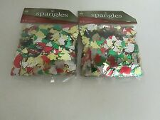 CHRISTMAS CONFETTI SPANGLES, SANTA,TREES,BELLS - LOT OF 2 PACKAGES