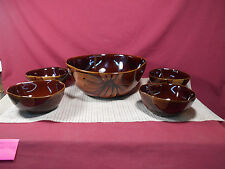 Savino Designs 5 Piece Stoneware Brown Lotus Flower Salad Serving Set