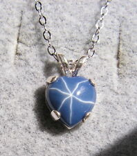 LINDE LINDY CF BLUE STAR SAPPHIRE CREATED HEART PENDANT 2ND .925 S/S CHAIN